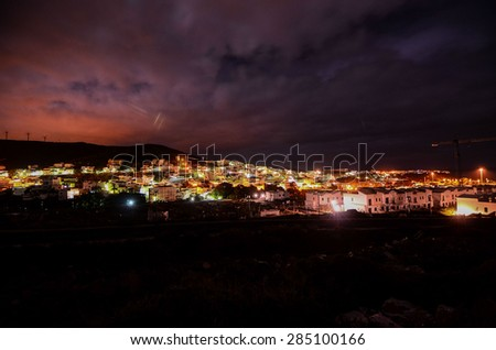 Night Picture of the Canarian City Agaete