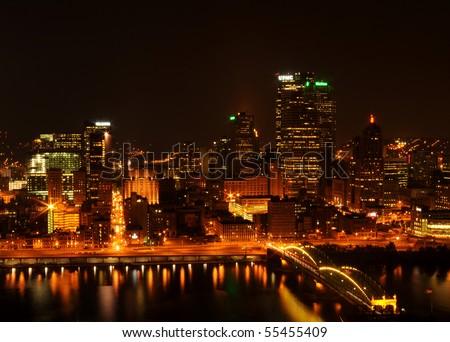 Night Pittsburgh panoramic background - stock photo