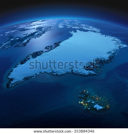 Night planet Earth with precise detailed relief and city lights illuminated by moonlight. Greenland and Iceland. Elements of this image furnished by NASA - stock photo