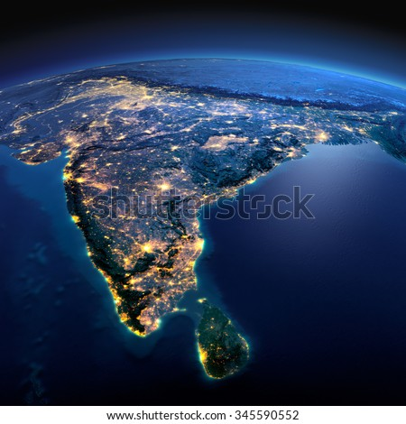 Night planet Earth with precise detailed relief and city lights illuminated by moonlight. India and Sri Lanka. Elements of this image furnished by NASA - stock photo