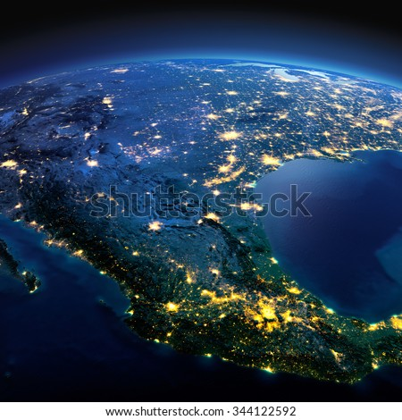 Night planet Earth with precise detailed relief and city lights illuminated by moonlight. Mexico. Elements of this image furnished by NASA - stock photo