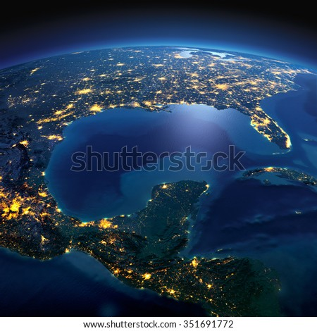 Night planet Earth with precise detailed relief and city lights illuminated by moonlight. North America. Gulf of Mexico. Elements of this image furnished by NASA