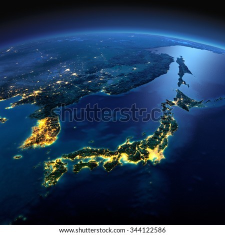 Night planet Earth with precise detailed relief and city lights illuminated by moonlight. Part of Asia, Japan and Korea, Japanese sea. Elements of this image furnished by NASA