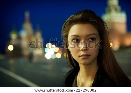 Night portrait of the young girl. - stock photo