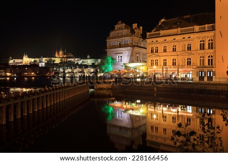 Night Prague gothic Castle with Charles Bridge, Czech Republic - stock photo