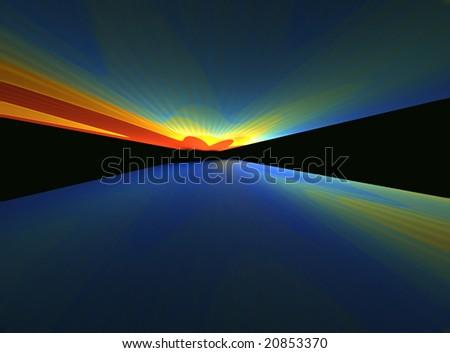Night Rave - 3D fractal landscape - stock photo