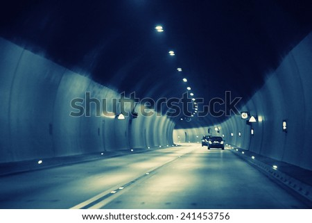 Night road in the city of lights cars traffic jams - stock photo