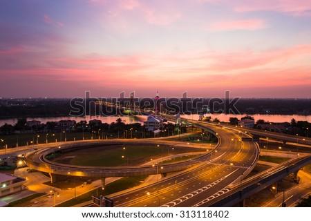 Night scene at a suspension bridge , Bangkok, Thailand - stock photo