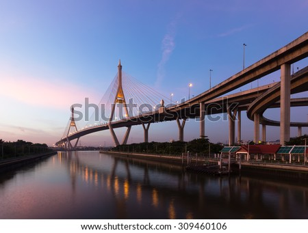 Night scene at Bhumibol Bridge  , Bangkok, Thailand