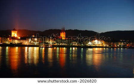 Night-scene at River Rhine, Boppard in Germany