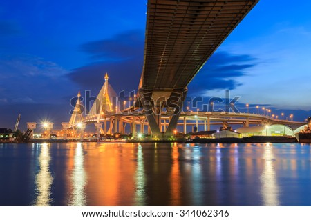 Night Scene Bhumibol Bridge, Bangkok, Thailand - stock photo