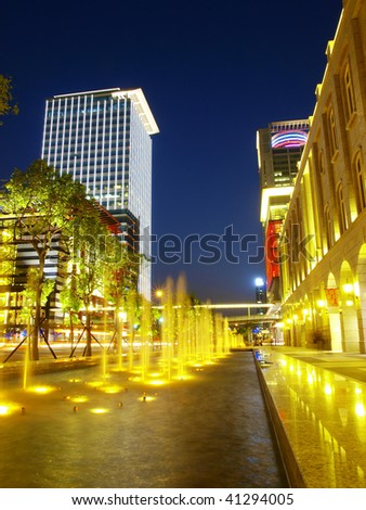 Night scene in downtown of city - stock photo