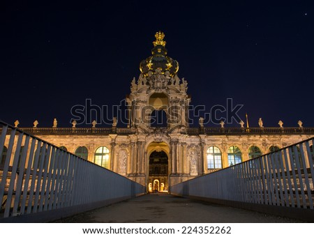 Night scene in Dresden, Germany. The Zwinger (Der Dresdner Zwinger) is a palace built in Rococo style in Dresden, Germany - stock photo