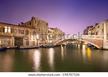 Night scene in historic residential neighborhood in Venice, Italy