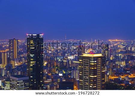Night scene in Osaka, Japan. - stock photo