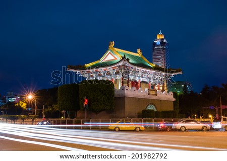 Night Scene of a gate of the old Taipei city - stock photo