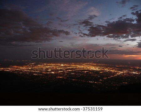 Night scene of Albuquerque, NM - stock photo