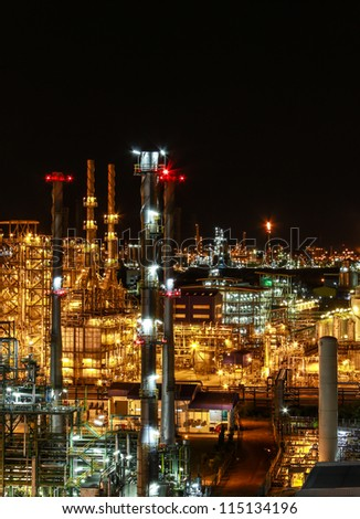 """Night scene of chemical plant , """"Maptaphut industrial"""" , Eastern of Thailand - stock photo"""
