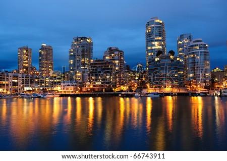 night scene of city from granville island, vancouver, british columbia, canada - stock photo