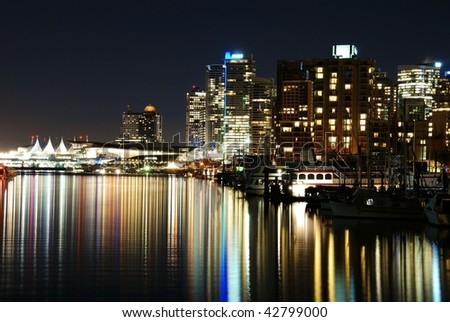 Night scene of downtown in Stanley Park, Vancouver Canada