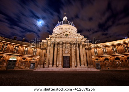 Night scene of French institute, famous cupola in Paris - stock photo