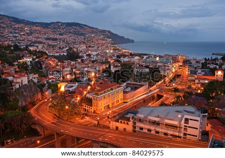 night scene of funchal on madeira island, portugal - stock photo