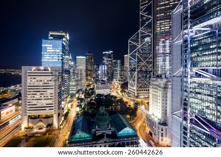 Night scene of Hong Kong Skyscrapers with neon lights - stock photo