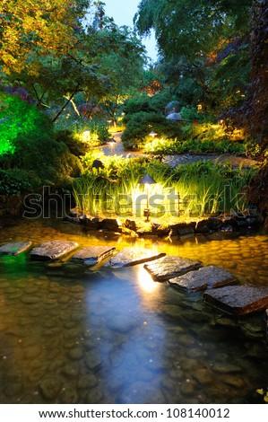 night scene of national historical site butchart garden, victoria, british columbia, canada - stock photo