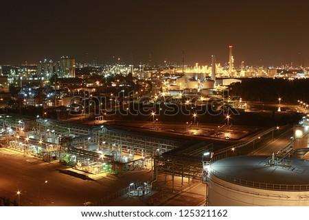 Night scene of petrochemical factory - stock photo