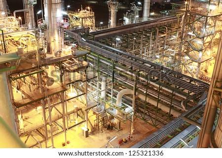 Night scene of petrochemical Plant - stock photo
