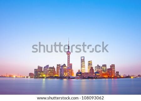 night scene of shanghai - stock photo
