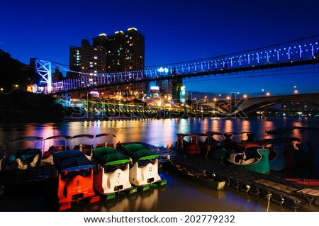night scene of Taipei by the lake