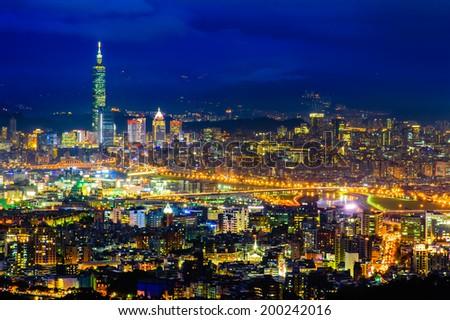 Night scene of Taipei city - stock photo