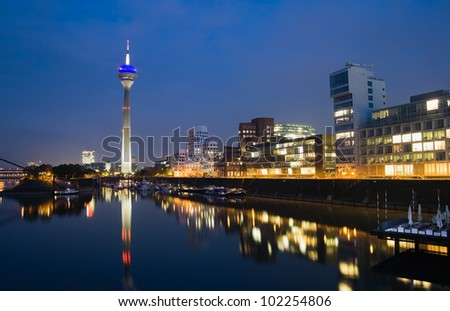 Night scene of the Media harbor in Dusseldorf, Germany - stock photo