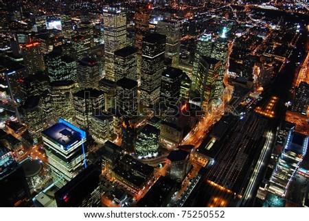Night Scene of Toronto Skyscrapers viewed from CN tower, Toronto, Ontario, Canada - stock photo