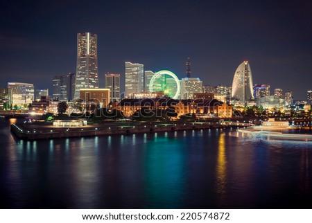 Night scene of Yokohama City, Japan. - stock photo