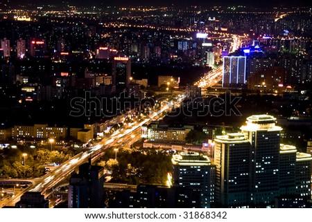 Night scene panoramic view of beijing china - stock photo
