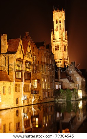 night scene: the Bell Tower and old town of Bruges in Belgium