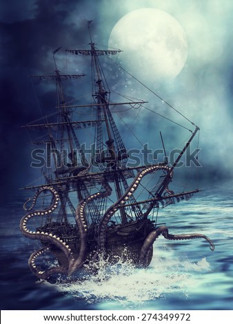 Night scene with a pirate ship pulled into water by tentacles - stock photo
