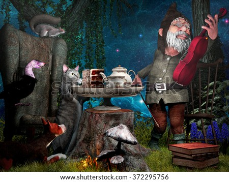 Night scene with animals and gnome playing violin