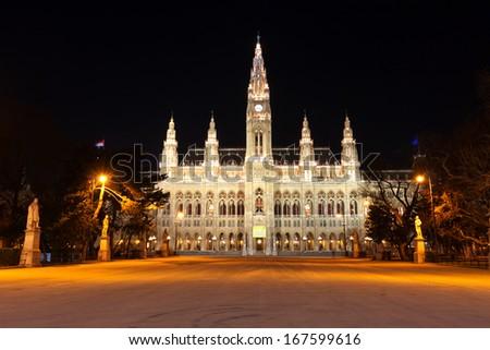 Night scene with town hall in Vienna, Austria  - stock photo