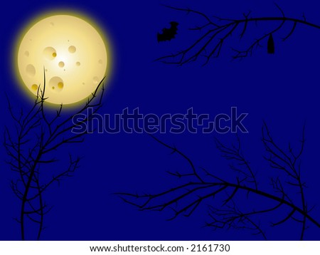 Night scene with tree branches, bats and moon. - stock photo