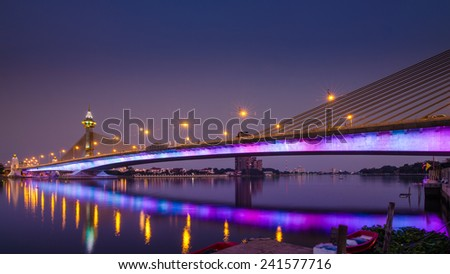 Night scene with twilight time in Nonthaburi 1 bridge,Bangkok,Thailand - stock photo