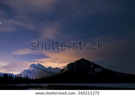 Night scenery Mount Rundle and Vermilion Lakes Banff National Park Alberta Canada - stock photo