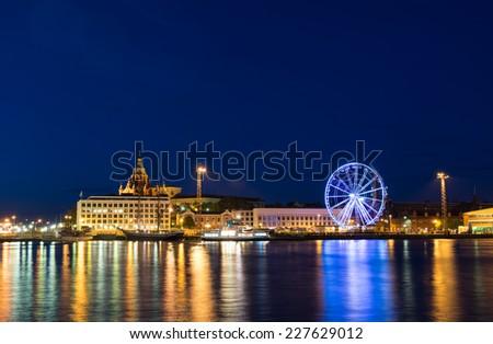 Night scenery of Helsinki, Finnland - stock photo