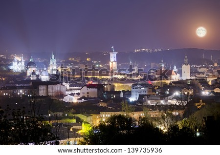 Night scenery of Lvov - full moon illuminates Lvov city