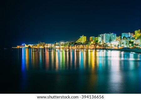Night Scenery View Of Embankment, Seacoast, Beach In Benalmadena. Benalmadena is a town in Andalusia in Spain. Malaga region, on the Costa del Sol. It caters for a large number of tourists. - stock photo