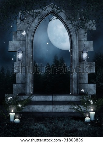 Night scenery with a ruined gate and candles