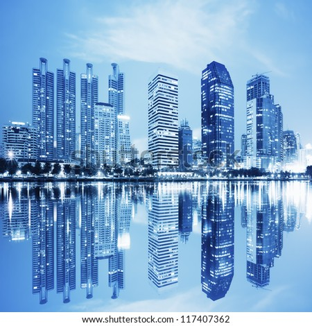 night scenes of city ,building at night - stock photo