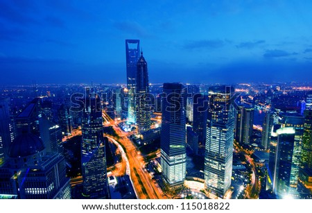night scenes of Shanghai business center . - stock photo